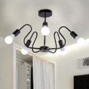 Black Open Bulb Chandelier Light with Curved Arm Post Modern Metallic 5 Lights Hanging Lamp