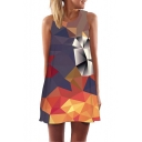 Stylish Round Neck Sleeveless 3D Geometric Printed Mini Swing Tank Dress