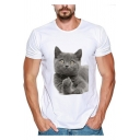 Cute Cat Pattern Basic Round Neck Short Sleeve Loose White T-Shirt