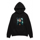 New Trendy Harry Potter Figure Printed Long Sleeve Loose Fit Drawstring Hoodie