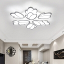 2 Tiers LED Ceiling Fixture with Tulip Shape Modern Acrylic Multi Light Semi Flushmount in White