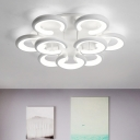 Acrylic C Shape Ceiling Lamp Minimalist Multi Light LED Semi Flush Light in White for Sitting Room