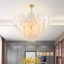 7 Lights Leaf Chandelier Light Modern Design Seeded Glass Art Deco Suspended Light in Gold