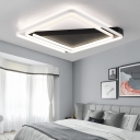 Modern Design Swirl Flushmount with Triangle Canopy Metal LED Ceiling Fixture in Warm/White