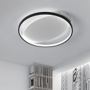 Black Single Ring Flush Light Minimalist Decorative Metal LED Lighting Fixture for Bedroom