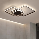 Brown Ultra Thin Ceiling Fixture with 4 Square Frame Post Modern Aluminum LED Lighting Fixture