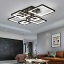 Black Squared LED Ceiling Light Simplicity Metallic Multi Light Indoor Lighting Fixture