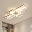Modernism Rectangular Flush Mount Light Metallic LED Ceiling Fixture in White for Restaurant