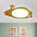 Giraffe Design Flush Light Nursing Room Acrylic 1 Head LED Ceiling Fixture in Green