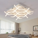 Contemporary Ripple Surface Mount Light Metal Art Deco LED Flushmount in Warm/White