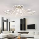 White Ultrathin Flush Light Fixture with Bloom Design Modern Chic Aluminum LED Ceiling Lamp
