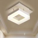 Acrylic Squared Lighting Fixture Minimalist LED Semi Flush Mount in White for Corridor