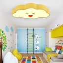 Metallic Flush Light with Cloud Modernism Yellow LED Ceiling Fixture for Children Bedroom