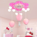 Floral Ceiling Light with Pink Hot Air Balloon Girls Bedroom Metal 9 Lights Semi Flush Mount