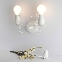 Red/White Open Bulb Wall Mount Fixture Modernism Metal 2 Lights Sconce Lighting for Corridor