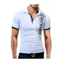 New Fashion Letter Printed Short Sleeve Men's Soft Touch Slim Fit Polo Shirt