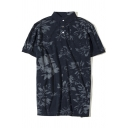 Retro Washed Distressed Floral Printed Men's Cotton Navy Polo Shirt