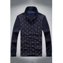 Men's Fashion All Over Printed Stand-Collar Long Sleeve Blue Polo Shirt