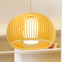 Inner Glass Shade Hanging Light Contemporary 1 Head Suspended Light in Wood for Bedroom