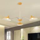 Modernism Curved Arm Chandelier Metallic 3 Lights Indoor Lighting Fixture in Yellow for Bedroom