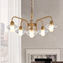 Clear Glass Capsule Shape Chandelier Vintage Height Adjustable 6 Heads Suspension Light in Brass Finish