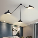 Duckbill Ceiling Light Modern Fashion Metal Triple Lights Decorative Semi Flush Light in Black