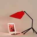 Blue/Red Geometric Table Lamp Contemporary Metal Single Light Standing Desk Lamp for Bedside