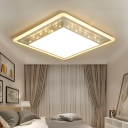 Eye Protection Square Flush Light Fixture Nordic Style Metal LED Flush Mount in White for Corridor
