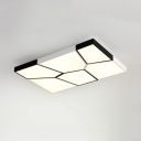 Modern Stylish Water Cube Flushmount with Rectangle Shape Metal LED Ceiling Flush Mount in Warm/White