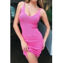 Women's Sexy Simple Plain Bodycon Beach Mini Knit Cami Dress