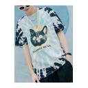 New Trendy Tie Dye GLOOMY BEAR Letter Cat Print Cotton Loose Light Blue T-Shirt