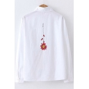 Trendy Letter I LOVE YOU Floral Print Simple White Button Shirt