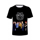 Popular Boy Band Figure Letter Print Summer Short Sleeve Unisex T-Shirt
