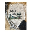 Retro Letter TAKE A HIKE Mountain Print Short Sleeve Heather Grey Graphic Tee
