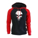 The Punisher Skull Print Colorblock Raglan Sleeve Loose Casual Drawstring Hoodie