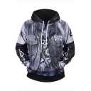 Street Style Skull Pattern Fashion PU Patched Long Sleeve Grey Drawstring Hoodie