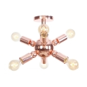 Multi Light Impulse Semi Flush Mount Post Modern Metallic Lighting Fixture in Rose Gold for Exhibition Hall