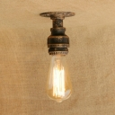 Single Light Mini Ceiling Lamp with Bare Bulb Minimalist Industrial Iron Semi Flush Light in Antique Brass/Bronze/Silver