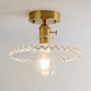 Saucer Lighting Fixture with Scalloped Edge Retro Style Semi Flush Light Fixture in Brass with Clear Glass Shade