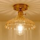 Amber Glass Textured Semi Flush Light Industrial Vintage Single Head Semi Flush Mount in Brass
