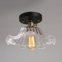 Antique Brass Flared Ceiling Lamp Traditional Clear Glass 1 Head Semi Flush Mount with Wavy Edge