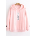 Girls Lovely Cartoon Printed Long Sleeve Relaxed Cotton Hoodie