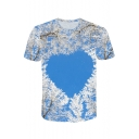 Creative 3D Heart-Shaped Sky Tree Print Blue Round Neck Loose Fit T-Shirt