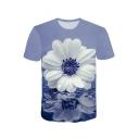Light Blue 3D Floral Pattern Round Neck Short Sleeve Basic T-Shirt