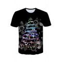 Creative 3D CD Printed Casual Leisure Black T-Shirt