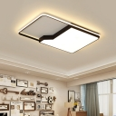 Black Metal Frame Flushmount with Rectangle Shape Simplicity LED Ceiling Lamp for Restaurant