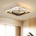 Modern Fashion Square Flush Light with Ring Silicon Gel LED Ceiling Flush in Black for Bedroom
