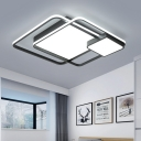 Squared Acrylic Shade Ceiling Flush Monochromatic Ambient LED Ceiling Lamp for Sitting Room