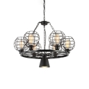 6 Lights Wire Guard Hanging Lamp with Wheel Industrial Metal Chandelier in Black for Living Room