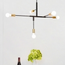 5 Heads Linear Suspended Light with Bare Bulb Modern Simple Metallic Chandelier in Brass